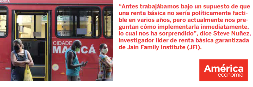 """Image of a public bus painted red, with the words """"City of Maricá"""" written in Spanish. A quote from the article appears in Spanish to the right, repasted in English in the text of this article. AméricaEconomía's logo is a red box in the bottom right of the image."""