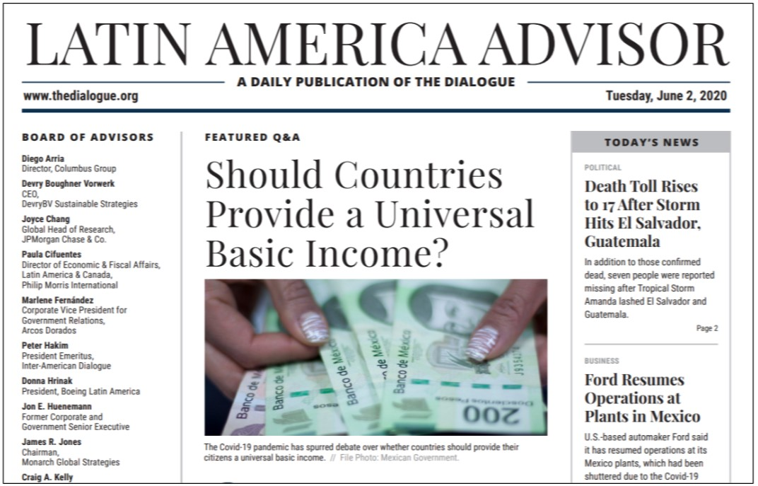 """Newspaper page, headline reads: """"Should Countries Provide a Universal Basic Income?"""" as a Featured Q&A section."""